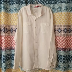 Tommy Bahama white linen button down shirt
